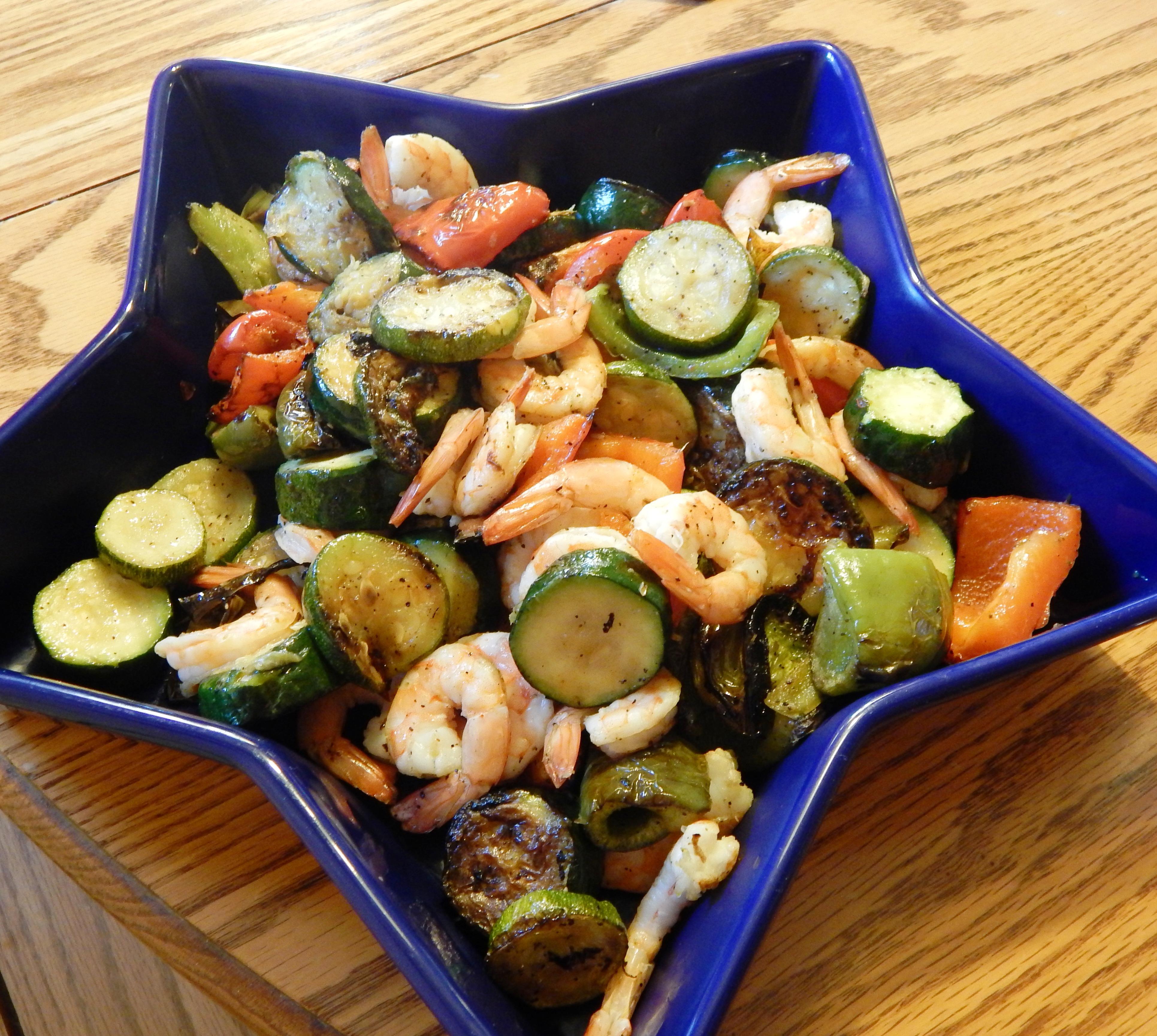Grilled Vegetables & Shrimp Toss