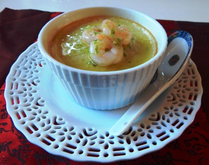 Asian Inspired Shrimp Egg Custard with Scallion Oil Drizzle