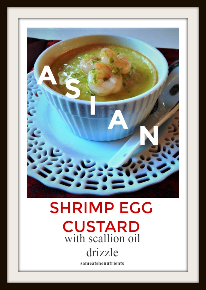 Asian Shrimp Egg Custard with Scallion Oil Drizzle is a perfect addition to your Chinese menu or party! Delicious starter or for lunch or breakfast! Paleo, Gluten Free, Dairy Free.