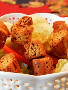 Homemade Grain Free Garlicky Croutons