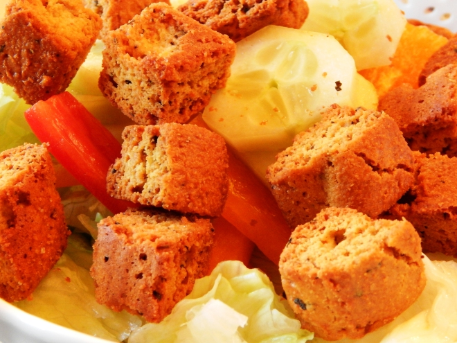 Homemade Grain Free Garlic Croutons