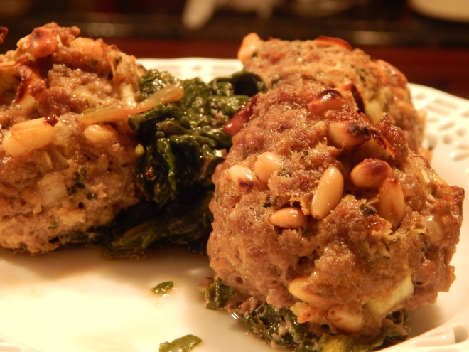 Lamb Meatballs with Pine Nuts ans Swiss Chard
