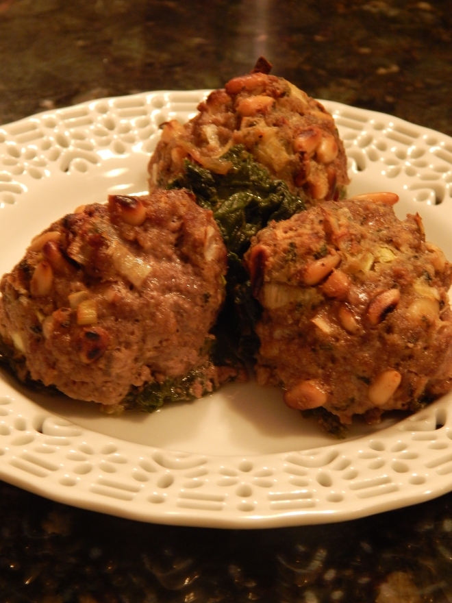 Lamb Meatballs with Pine Nuts and Swiss Chard