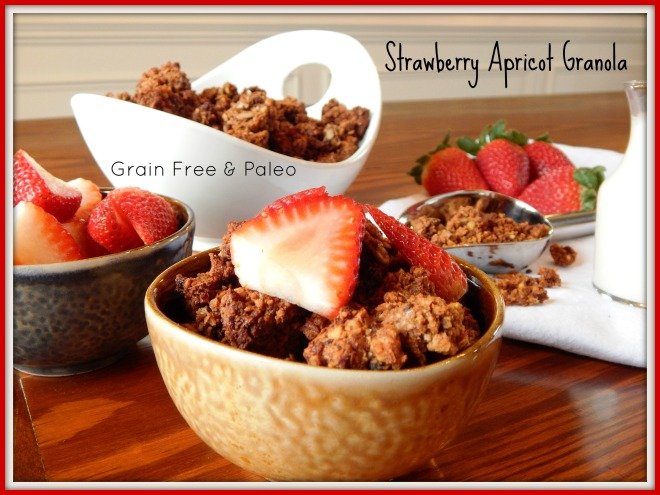 Strawberry Apricot Granola with wording