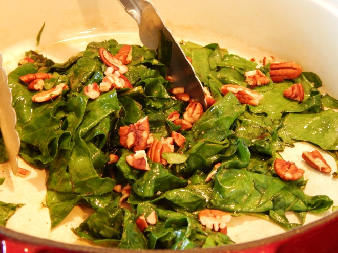 Sauteed Greens and Pecans