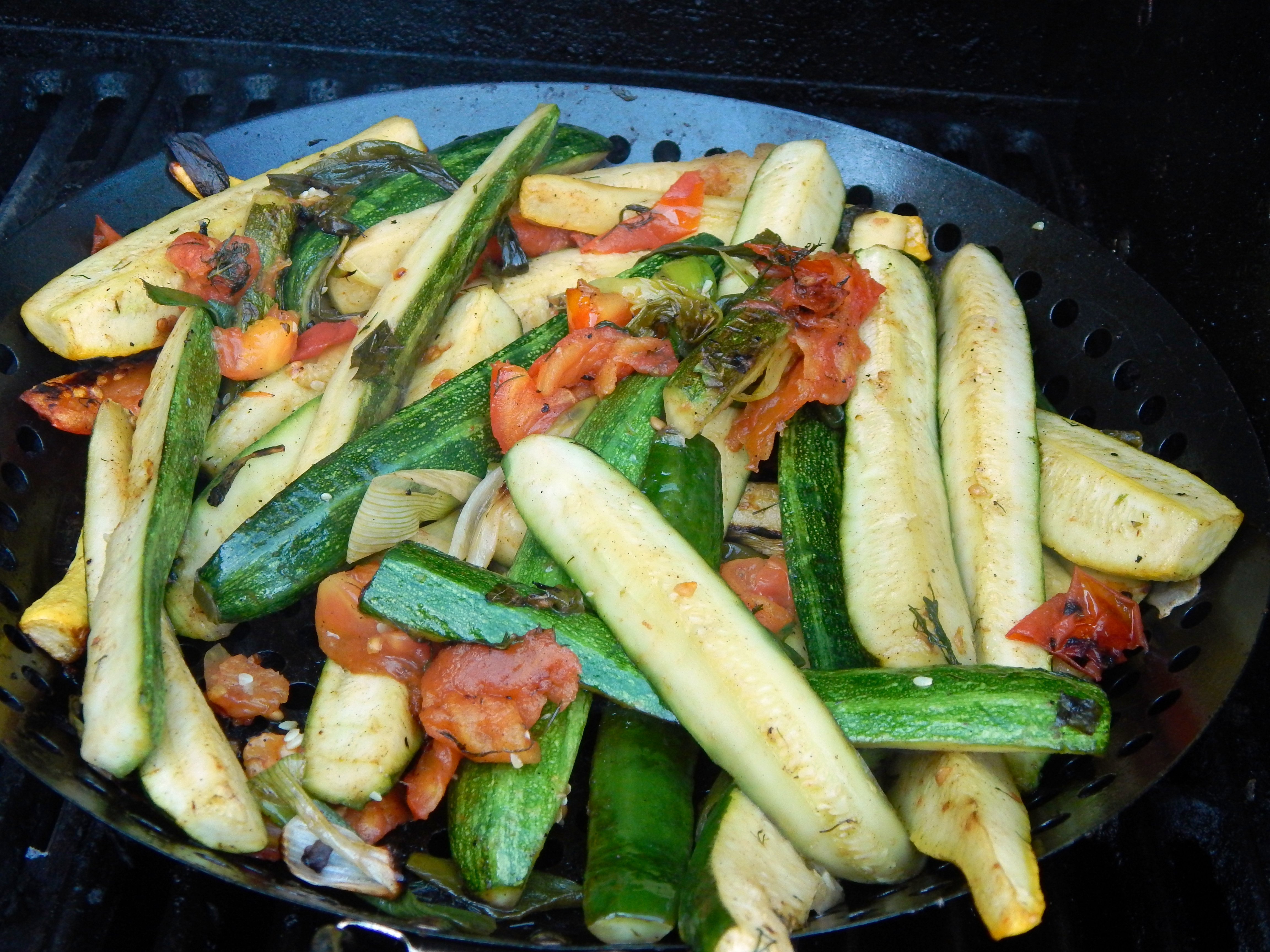 Grilled Zucchini, Tomatoes and Scallions with Fresh Basil ...