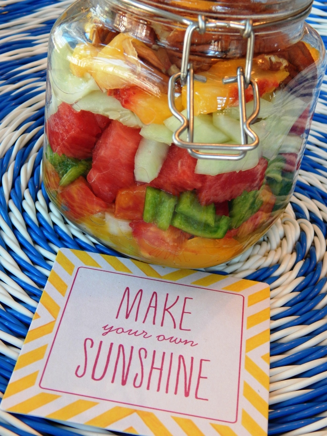 Peachy Salad in a Jar with Ginger Vinaigrette