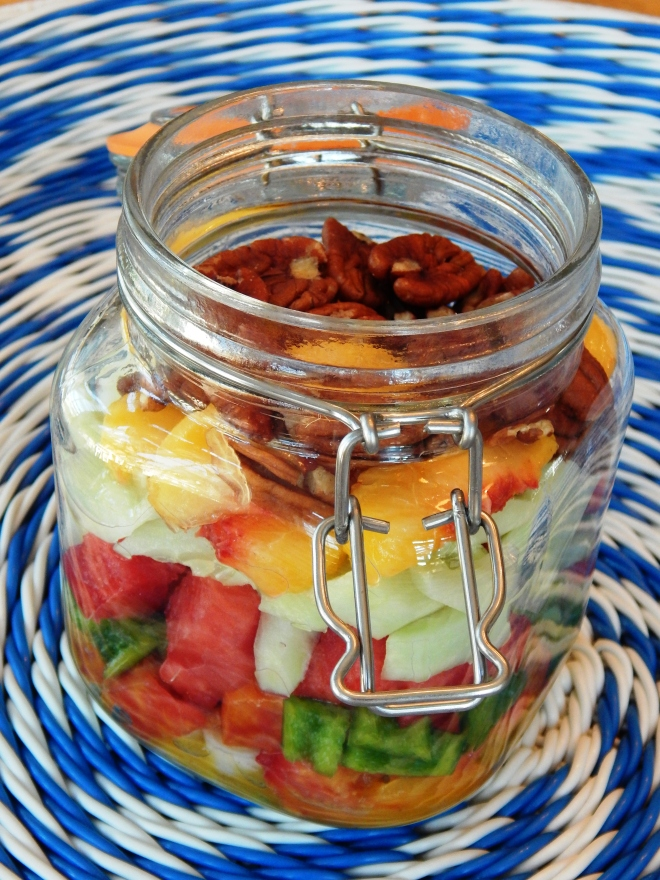 Peachy Salad in a Jar with Ginger Vinaigrette 4