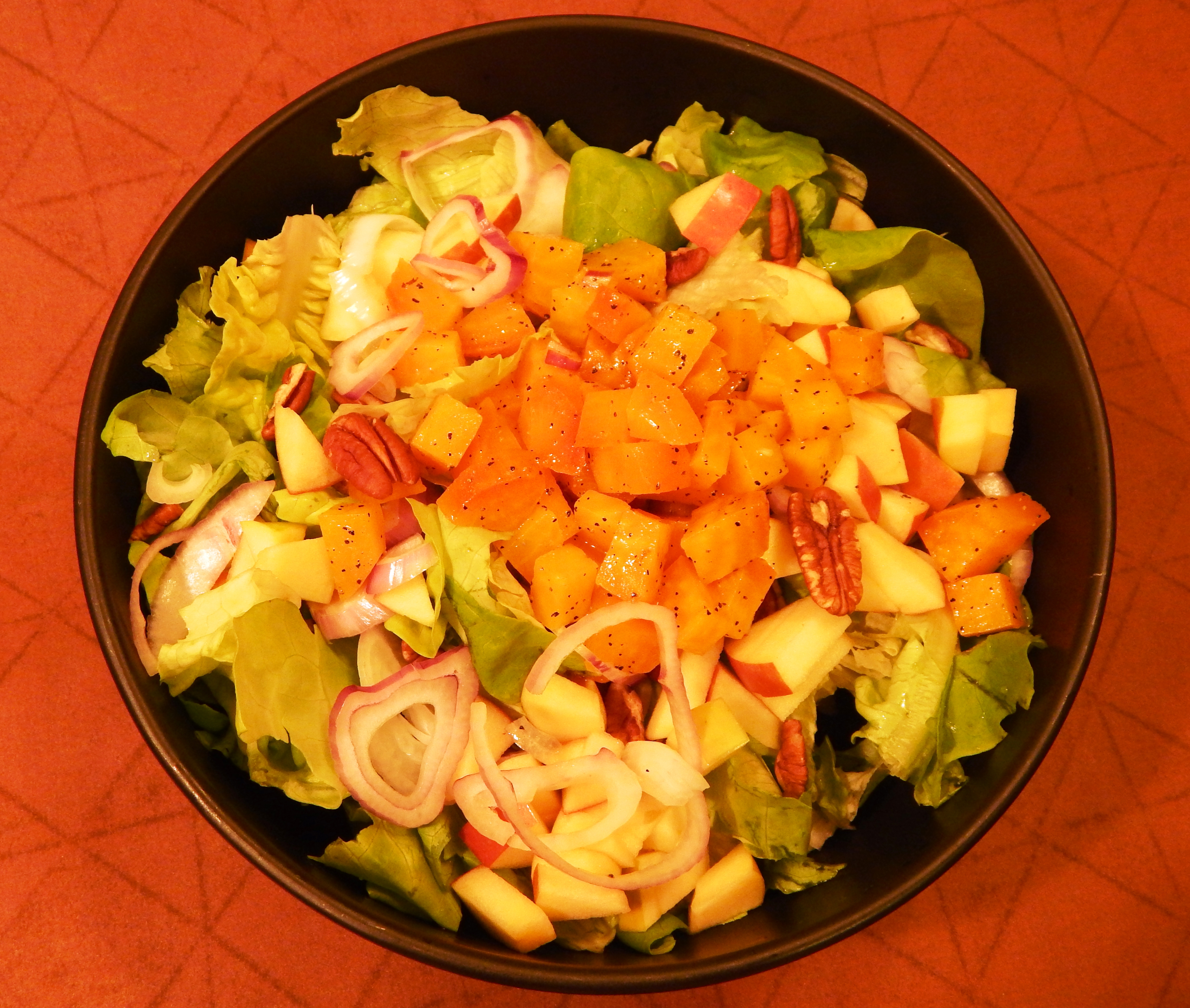 Fuji Apple Pecan Beet Salad with White Balsamic Vinagrette Bowl