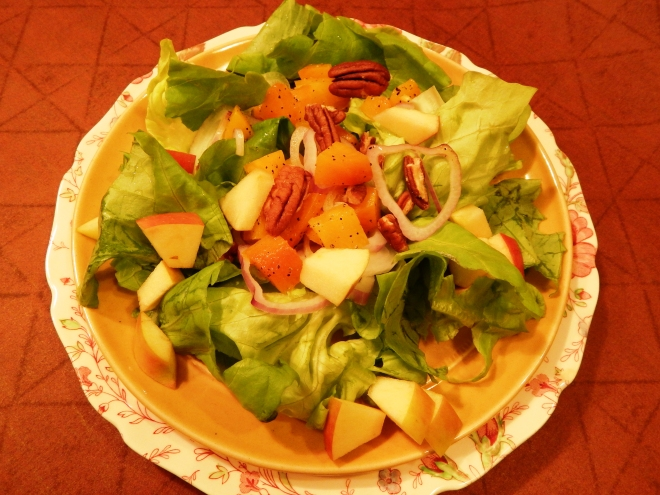 Fuji Apple Pecan Beet Salad with White Balsamic Vinaigrette Dressing