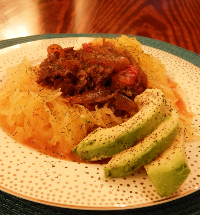 Beef Paprikash on Spagehtti Squash Noodles with Avocado