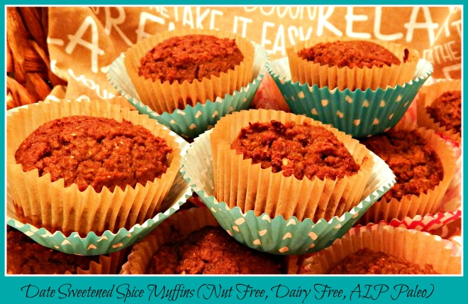 Date Sweetened Spice Muffins (Nut & Egg Free, AIP Paleo