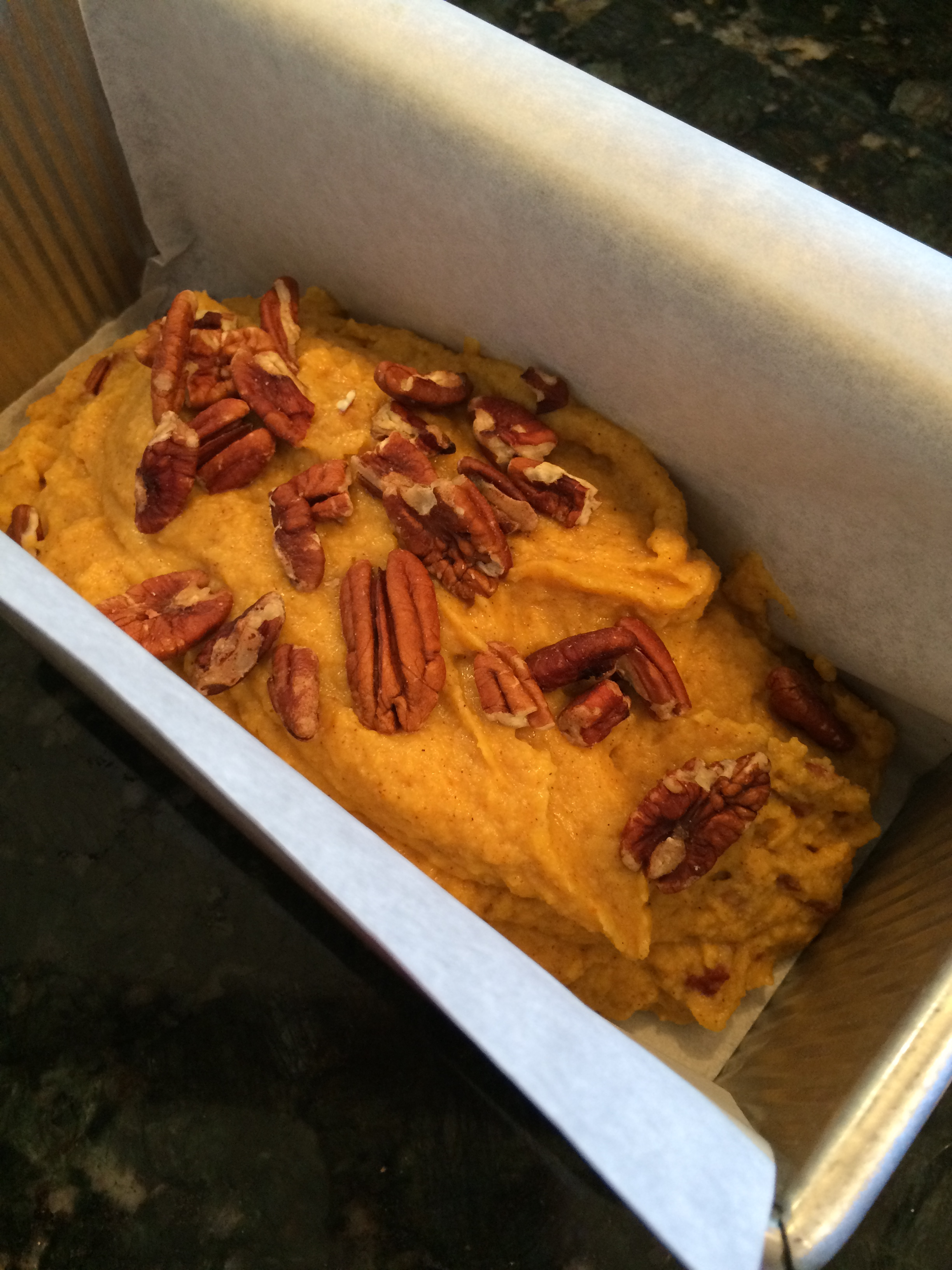 Pumpkin Pecan Quick Bread Ready for the Oven