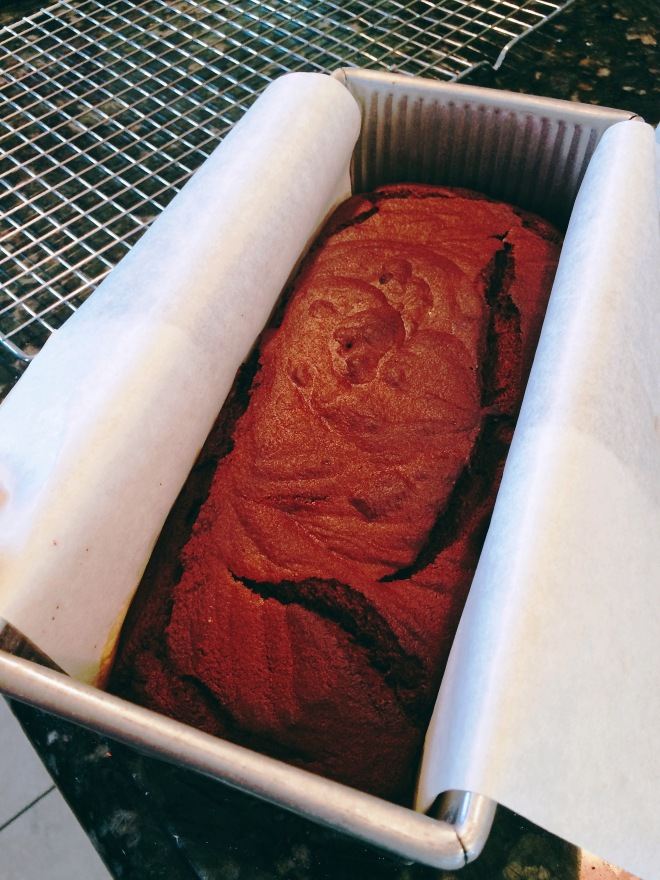 Chocolate Banana Quick Bread Baked and Ready to Remove from the Pan
