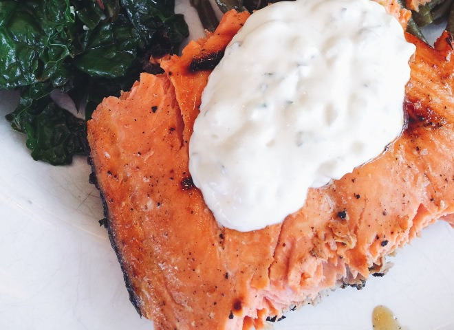 Grilled Salmon with Tartar Sauce