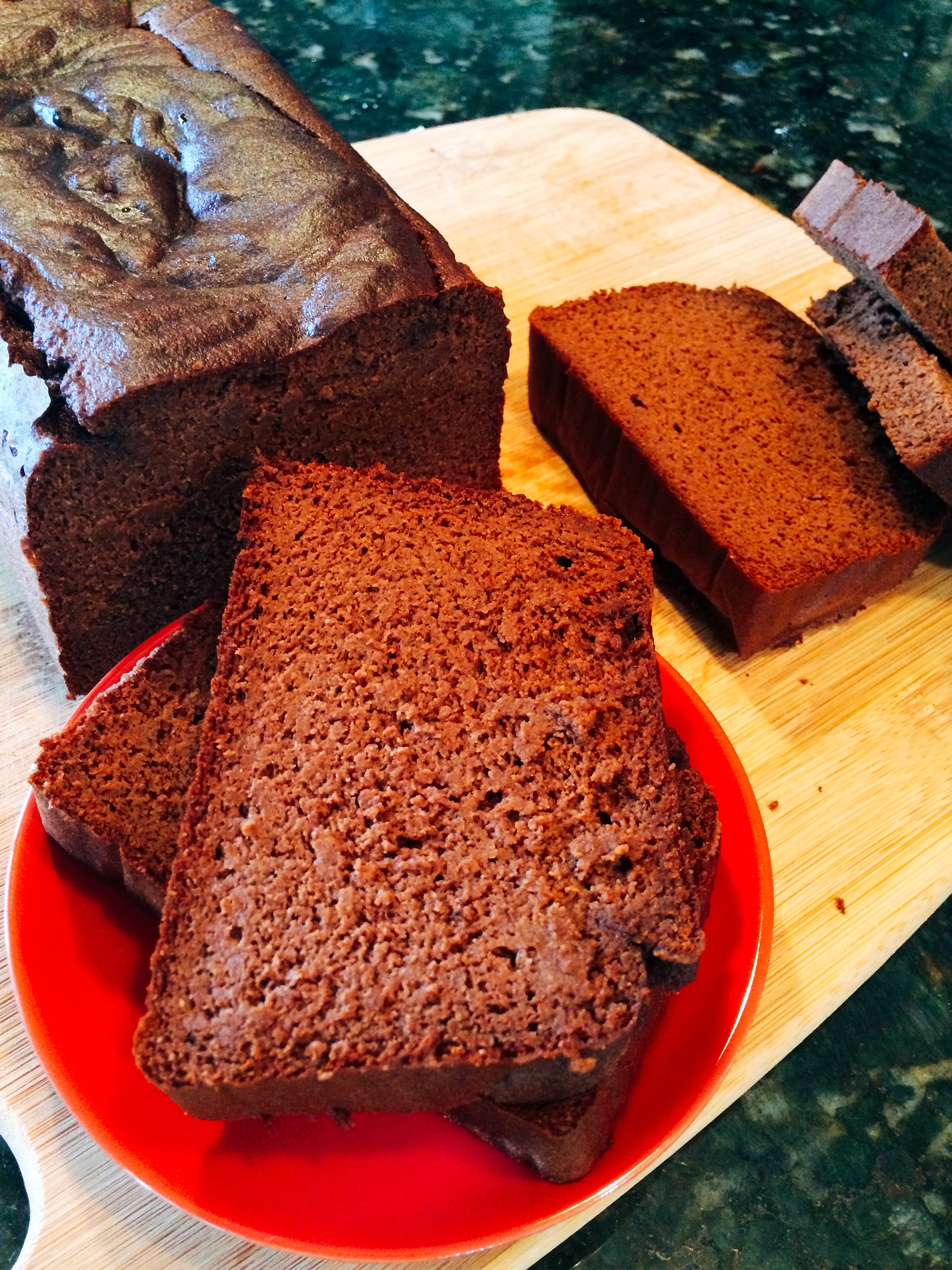 Sliced Chocolate Banana Quick Bread