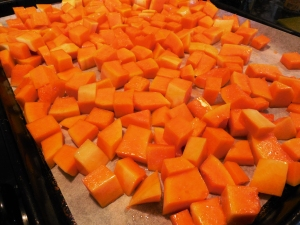Butternut Squash Prepped for Roasting
