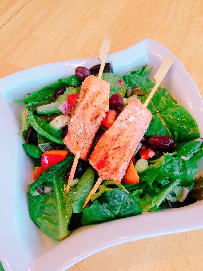 Greek Salad with Grilled Skewered Salmon
