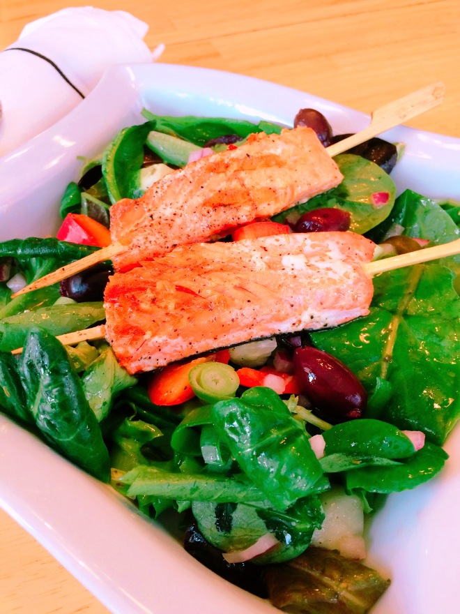 Greek Salad with Skewered Grilled Salmon