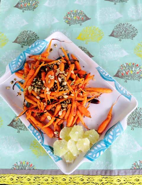 Oven Roasted Carrots with Cumin and Pepitas