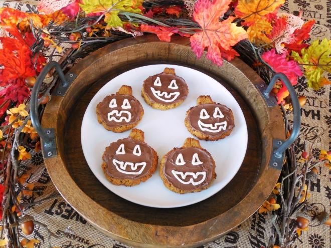 Frosted Jackolantern Pumpkin Cookies
