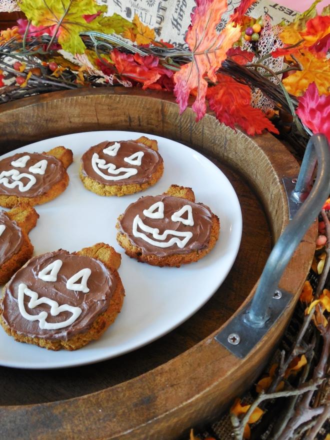 Gluten Free/Grain Free Frosted Jackolantern Pumpkin Cookies