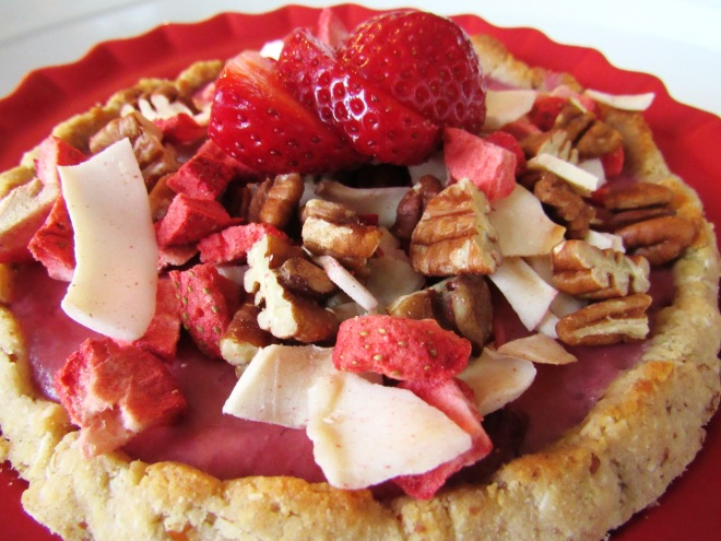 Strawberry Pecan Granola Tart with Coconut Pecan Crust