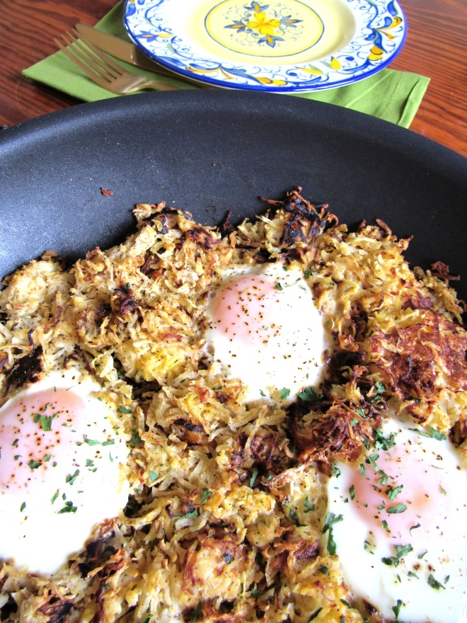 Parsnip Celeriac Hash and Egg Skillet