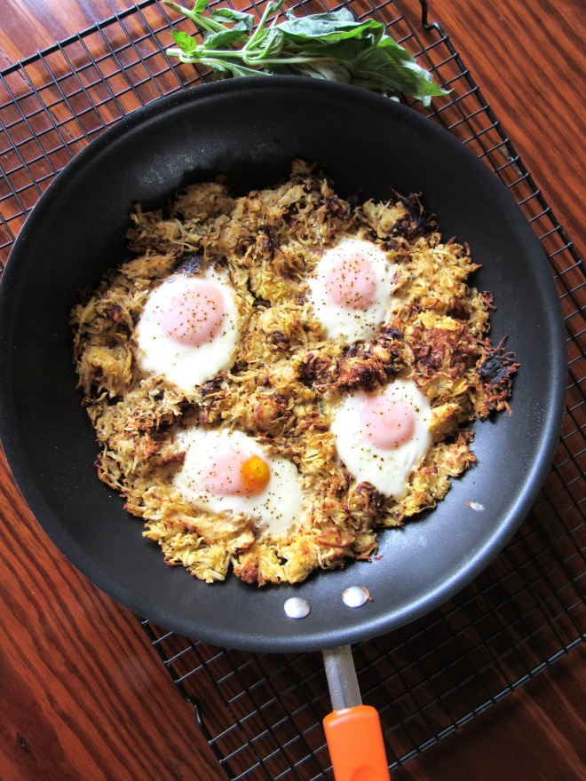 Skillet Egg and Parsnip Celeriac Hash Browns