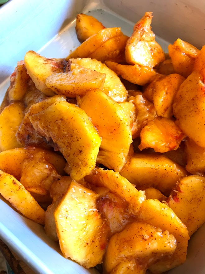 Sliced Peaches in Pan for Grain Free Cobbler