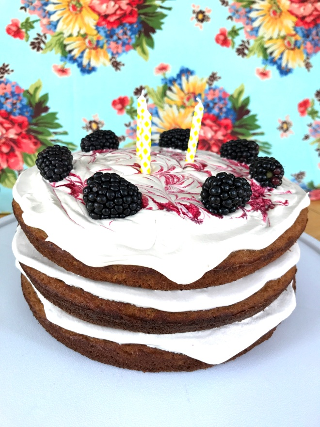 Birthday Spice Cake with Vanilla Blackberry Buttercream