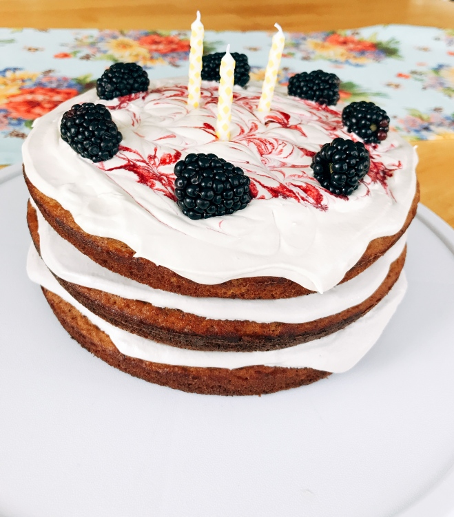 Grain Free Birthday Cake with Vanilla Blackberry Buttercream