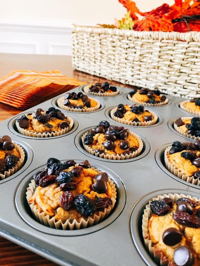 Pumpkin Spice Muffins with Chocolate Chips and Raisins - Gluten Free