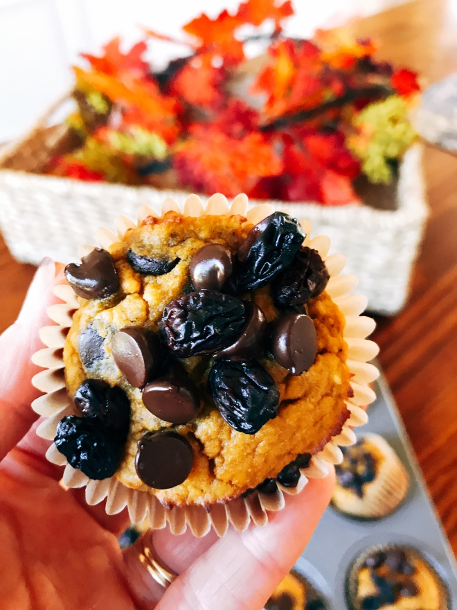 Pumpkin Spice Muffins with Chocolate Chips and Raisins Toddler Approved!