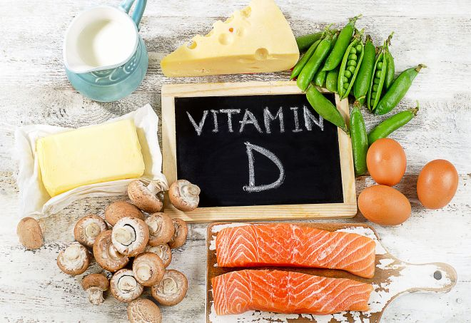 61624725 - foods rich in vitamin d. top view