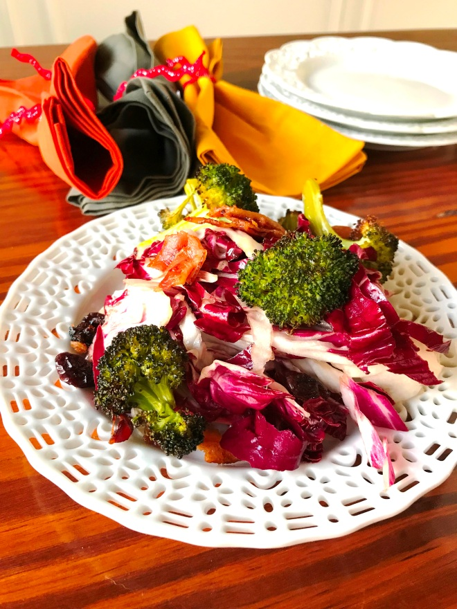 Broccoli Radicchio Bacon Salad with Cranberries