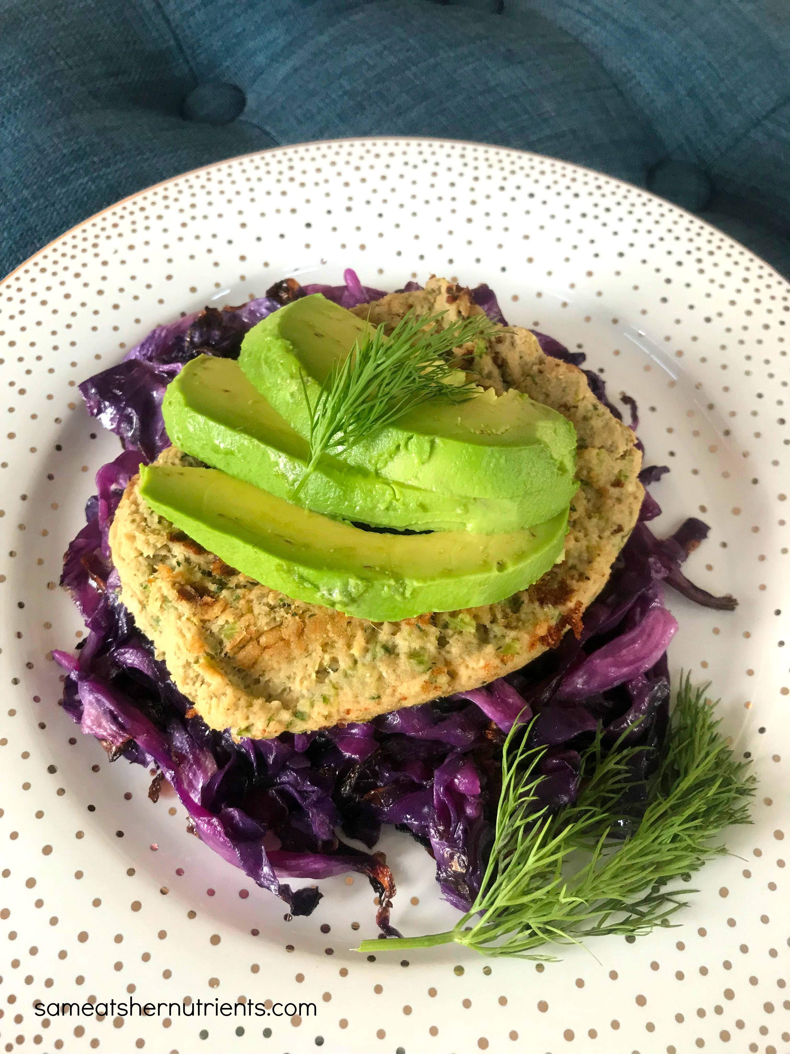 Salmon Burger with Avocado on Roasted Cabbage