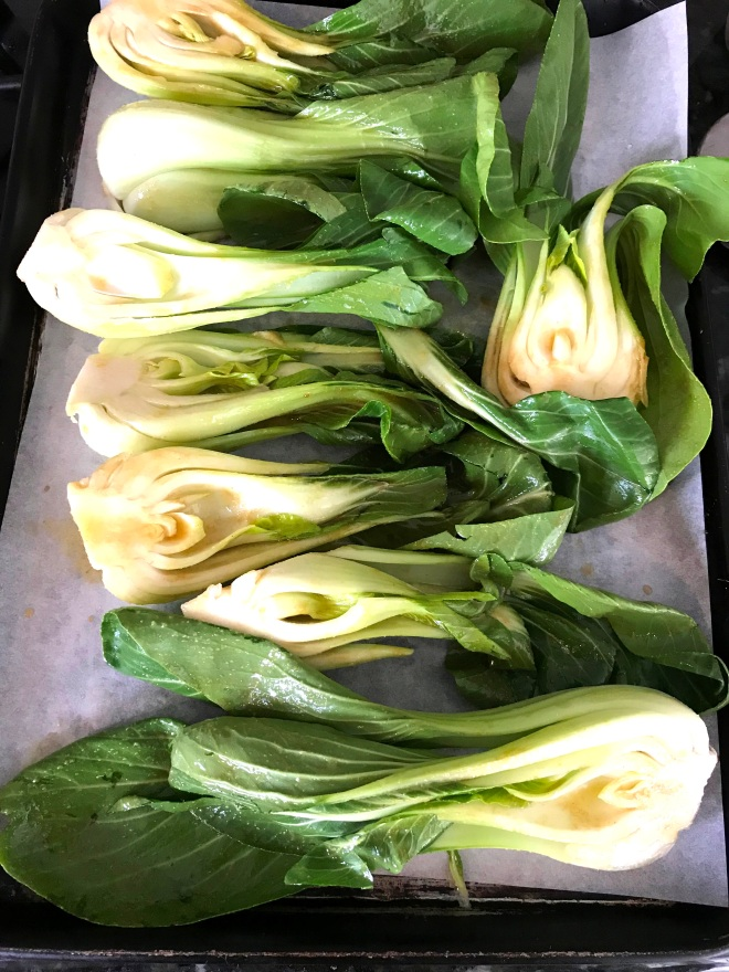 Bok Choy on Sheet Pan