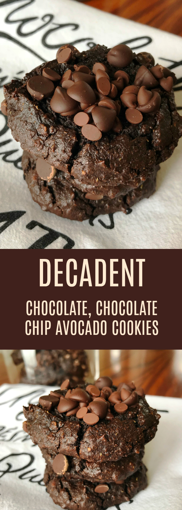 Gluten Free Decadent Chocolate, Chocolate Chip Avocado Cookies! A Healthier way to indulge a chocolate craving! These cookies are fudgy and delicious!