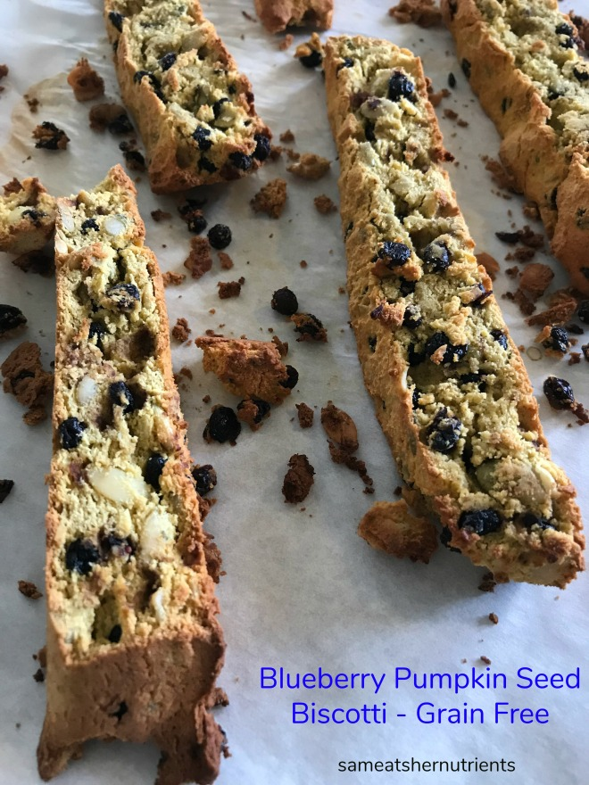 Blueberry Pumpkin Seed Biscotti Grain, Dairy and Nut Free