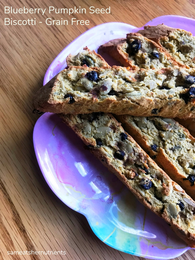Blueberry Pumpkin Seed Biscotti - Paleo, Gluten Free