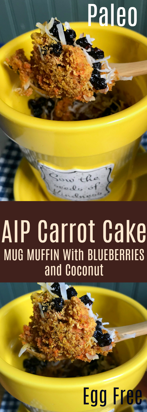 Quick and Easy Microwave Muffin for One. With all the flavor of classic carrot cake, a half cup of carrots are in this muffin along with delicious dried blueberries and shredded coconut!