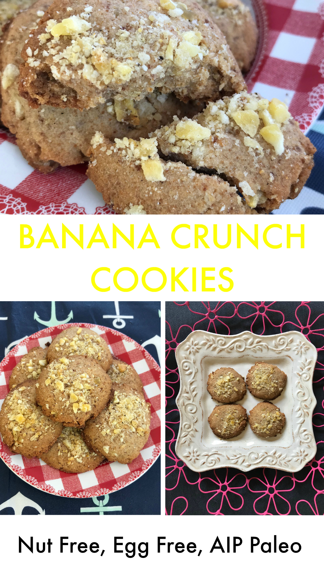 Banana Crunch Cookies - Nut Free, Egg Free, Dairy Free, AIP Paleo