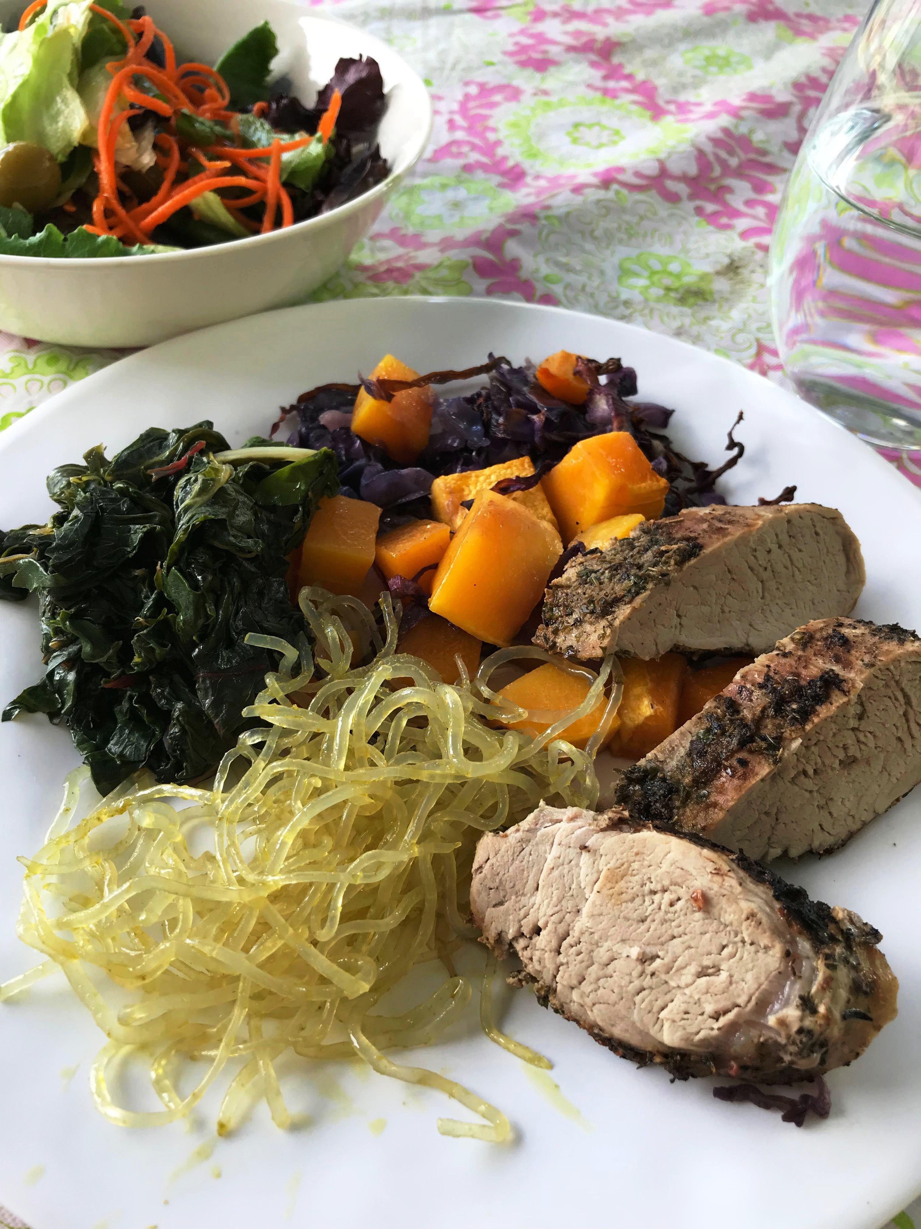 plated pork dinner