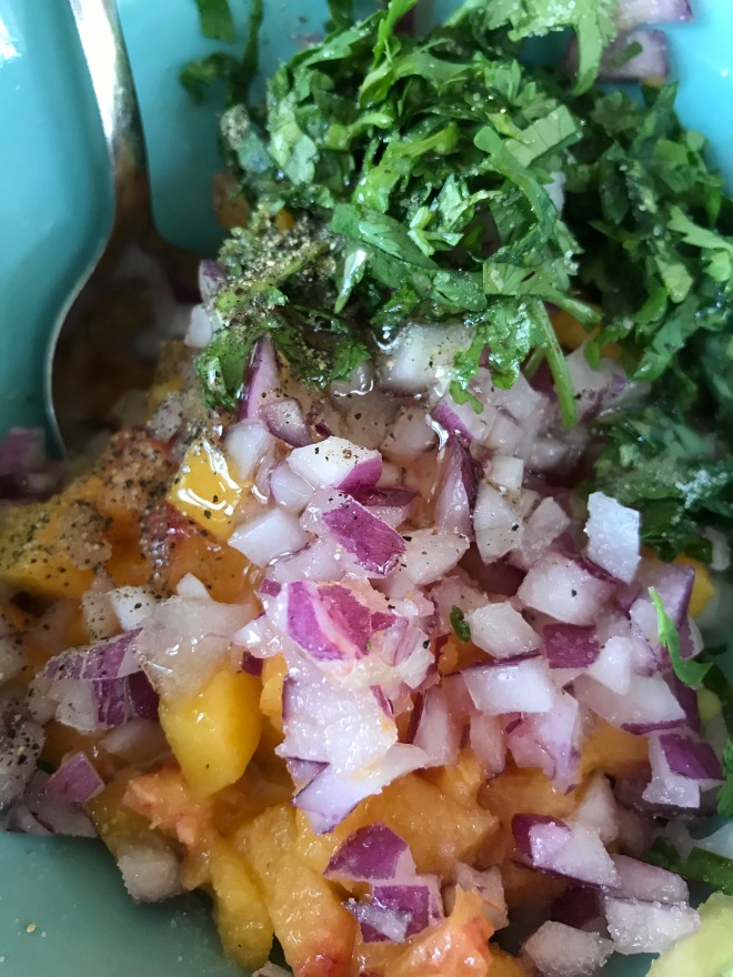 Mixing Fresh Peach Salsa