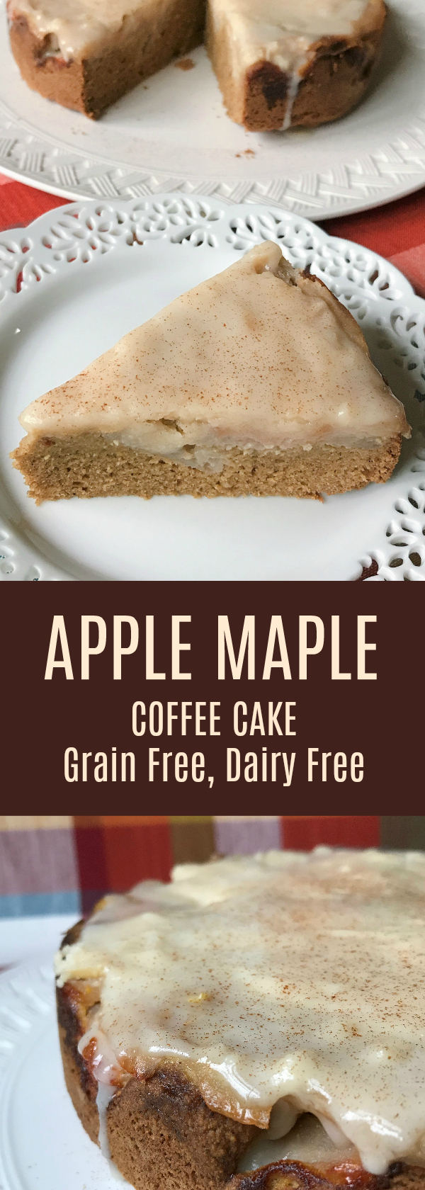 Apple Maple Coffee Cake with Maple Glaze. This cake is moist and perfect for Autumn. Grain, Dairy and Nut Free!