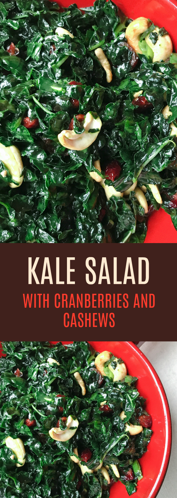 Delicious Kale Salad with Cranberries, Cashews and a Maple Mustard Dressing. Gluten and Dairy Free