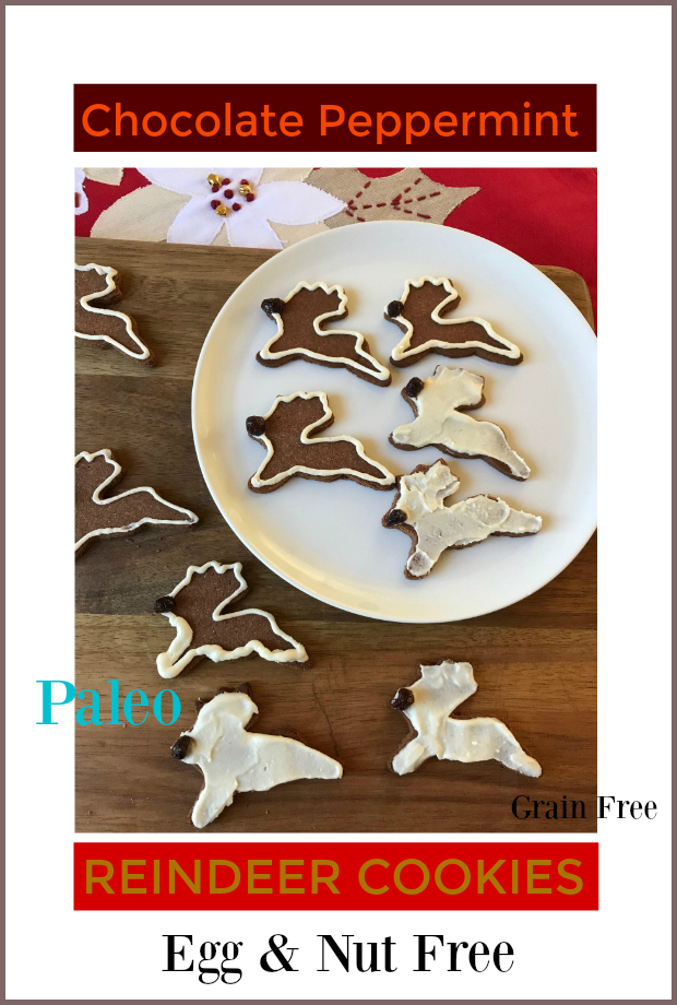 Chocolate Peppermint Reindeer Cookies - Delicious cookie that works as a cutout or dropped cookie thumbprint!