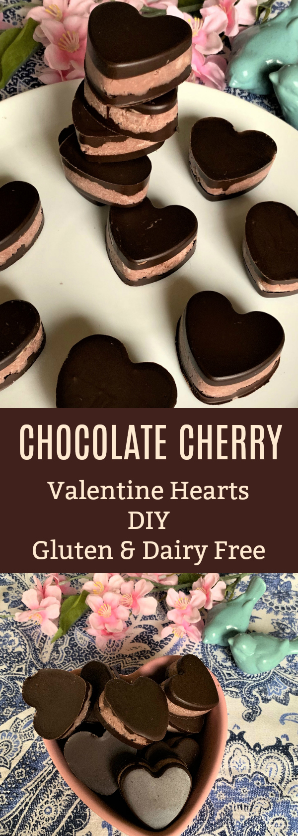 diy chocolate cherry valentine hearts. these easy candies are great for gift giving and are dairy and gluten free!