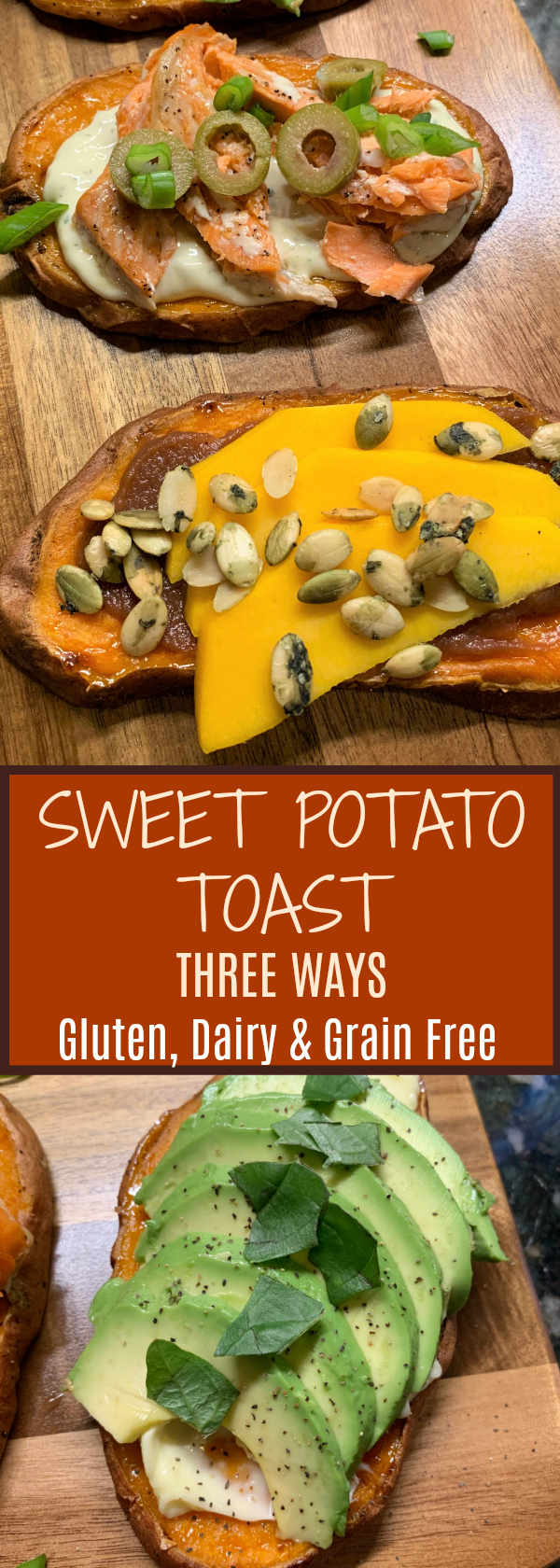 Make Sweet Potato Toast easily in your oven with three different toppings! Delicious for Tapas, Appetizers and a Fun Dinner!